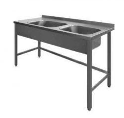 Stålbord med 2 vaske, PSR2, 600mm dyb i mange længder