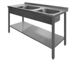 Stålbord med 2 vaske og underhylde, PSL2, 700mm dyb i mange længder