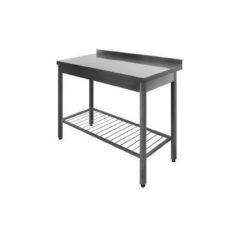 Stålbord med rillet underhylde DSS, 600mm dyb i mange længder