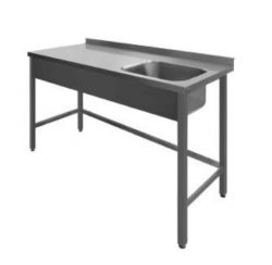 Stålbord med vask PSR1, 600mm dyb i mange længder