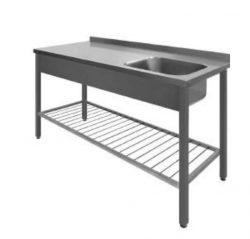 Stålbord med vask og ribbet underhylde, 700mm dyb i mange længder