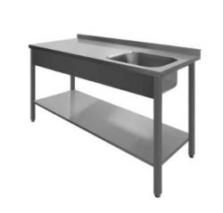 Stålbord med vask og underhylde, PSL1, 600mm dyb i mange længder