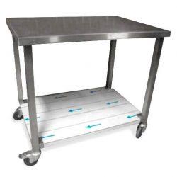 Rullebord i stål med underhylde, kraftig model, mange størrelser